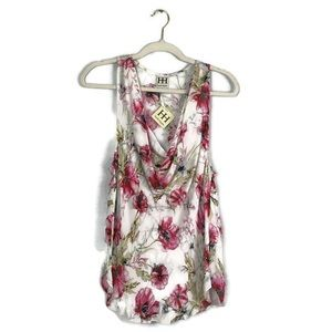 Haute Hippie drape neck 100% silk floral tank top